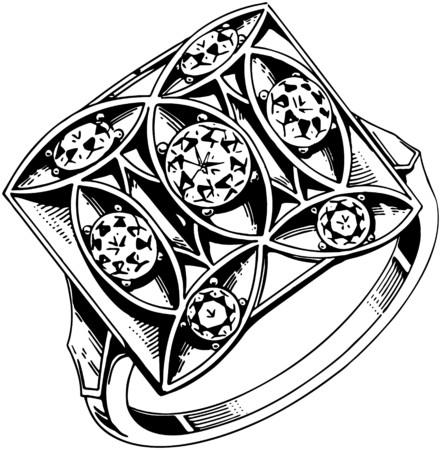 square: Square Set 5 Diamond Ring