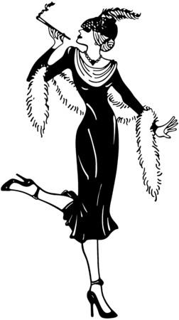 boas: Stylish Thirties Gal Illustration