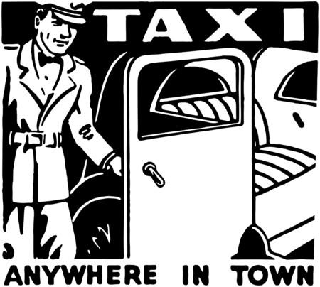 Taxi Anywhere In Town Illusztráció