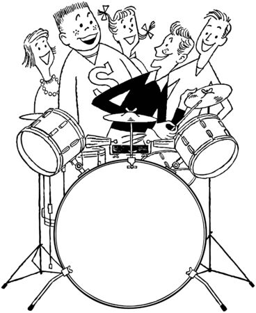 Teens With Drum Set Vector