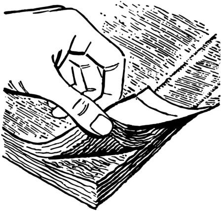 Thumbing Pages Of A Book Ilustração