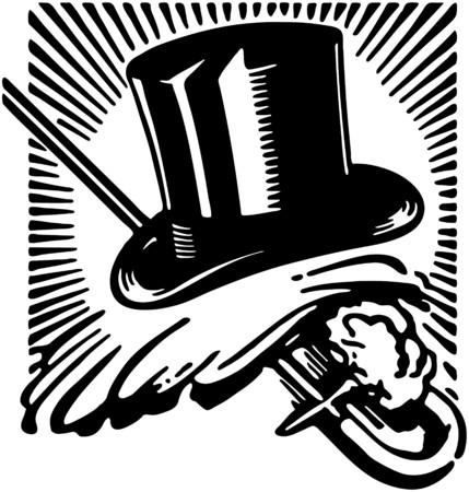 Top Hat Handschoenen En Cane 2 Stock Illustratie