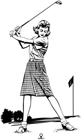 Woman Golfer 2 Vector