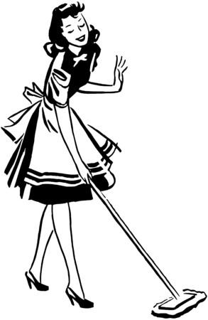 ama de casa: Mujer Mopping Floor