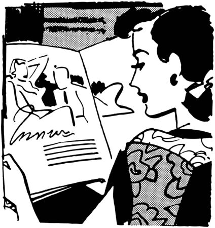 woman reading book: Woman Reading Magazine