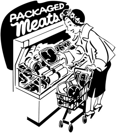 meats: Woman Shopper At Meats Illustration