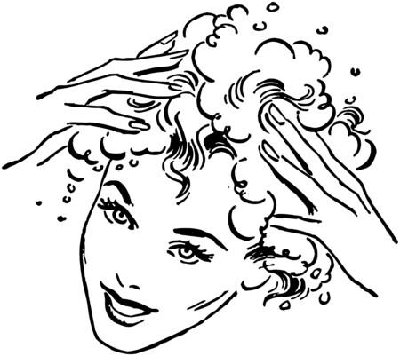 Woman Washing Hair Illustration