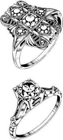 Two Diamond Rings Vector