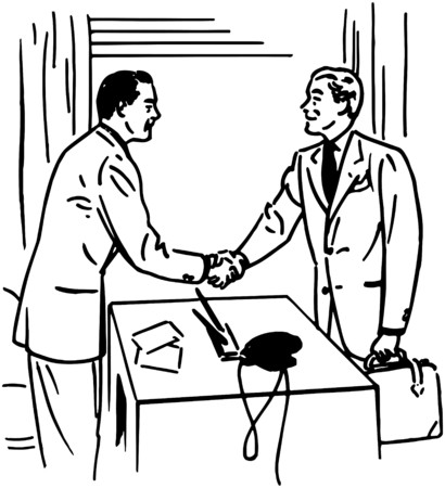 handshakes: Two Men Greeting Each Other Illustration