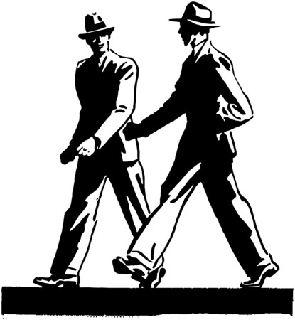 Two Men Walking Vector