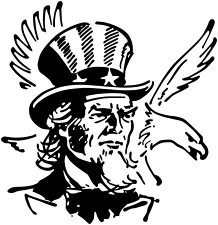 Uncle Sam With Eagle Illustration
