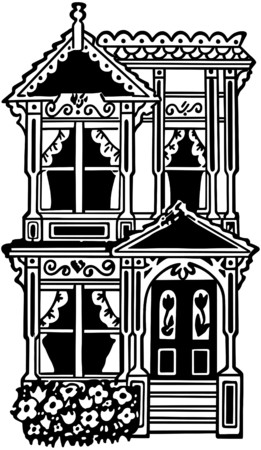 Victorian Row House Vector