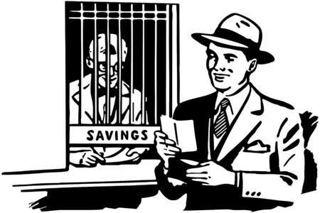wealthy man: Visit To The Teller Illustration