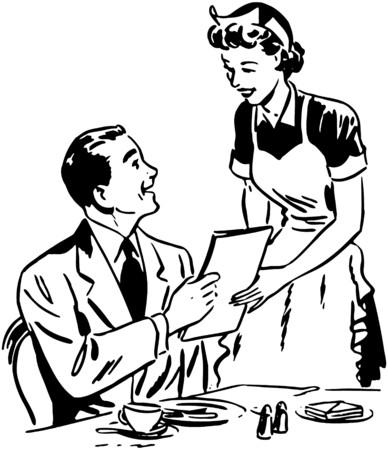 Waitress Handing Out Menu Stock Illustratie