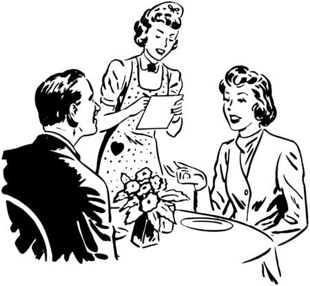 dinners: Waitress Taking Order