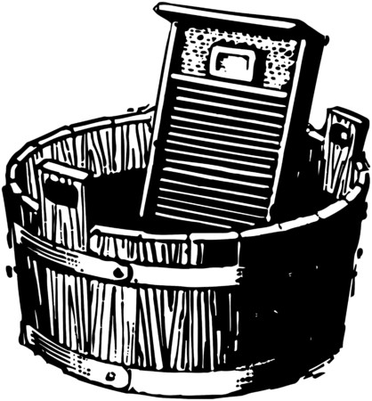 soap suds: Washboard And Bucket Illustration