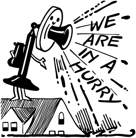 candlestick: We Are In A Hurry Telephone Illustration