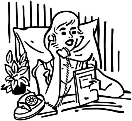 gals: Woman Calling Room Service Illustration