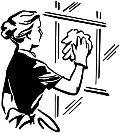 clean window: Woman Cleaning Window