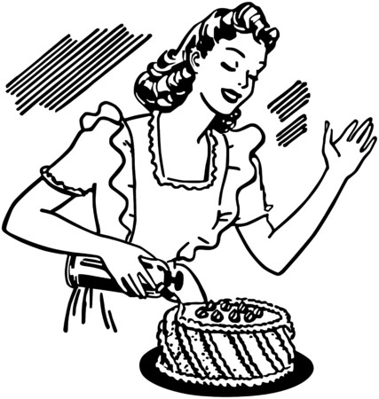 Woman Decorating Cake Vector