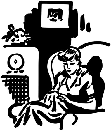 Woman Listening To Radio Show Ilustrace
