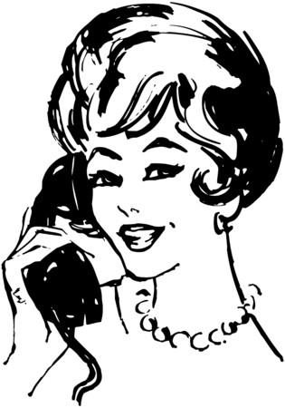 Woman On The Phone 向量圖像