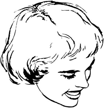 bobbed: Womans Bob Hairstyle Illustration