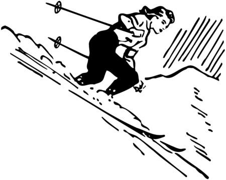 Woman Skier Vector