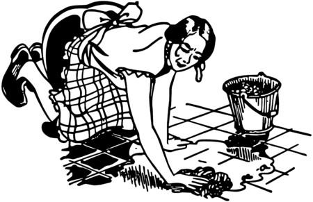 Woman Washing Floor 向量圖像
