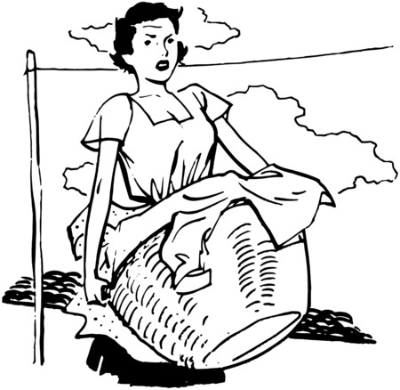homemakers: Woman With Laundry Illustration