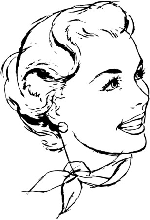 scarves: Woman With Scarf Illustration