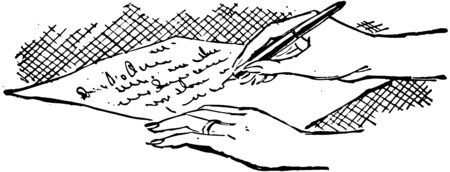 signing papers: Writing A Letter Illustration