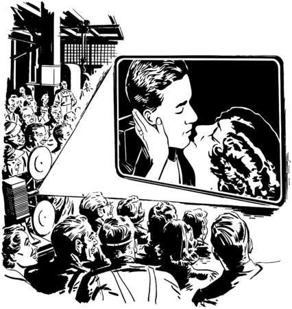 Crowd Watching A Movie Vector