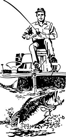 motorboats: Bass Fisherman In Boat Illustration