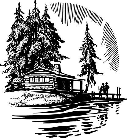 Piękny Domek nad jeziorem Ilustracje wektorowe