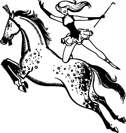 circus performer: Circus Performer On Horse Illustration