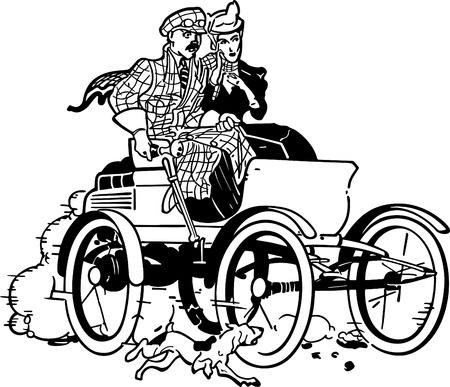 top down car: Couple In Vintage Car Illustration