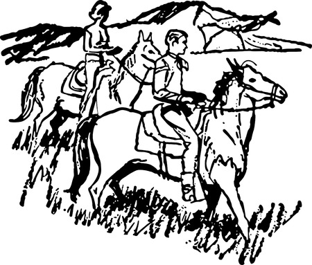 trotting: Couple Horseback Riding 3 Illustration