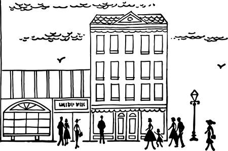 40s: Downtown Street Scene Illustration