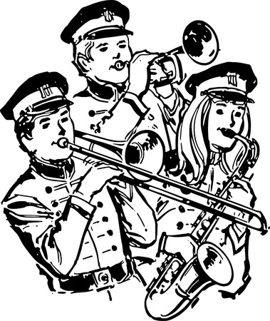 high school: High School Band Illustration
