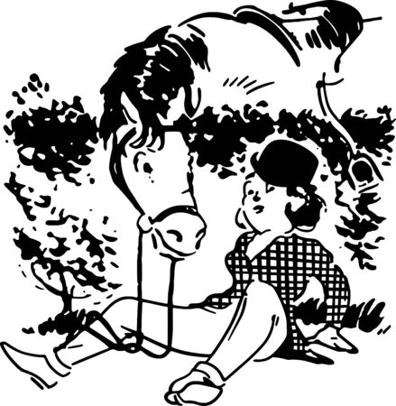 trotting: Girl Fallen From Horse Illustration