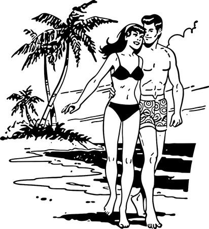 Pares en la playa tropical Foto de archivo - 56583304