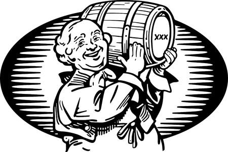 40s: Man With Keg Of Whiskey Illustration