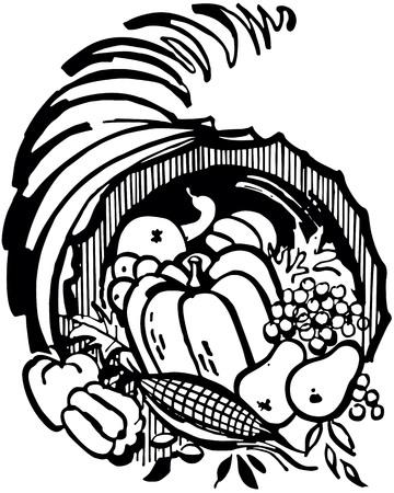 Retro Clip Art Illustration - Horn Of Plenty Illusztráció