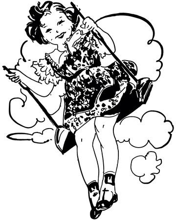 Retro Clip Art Illustration of a girls on a swing
