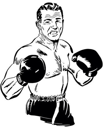 Retro Clip Art Illustration - Prize Fighter