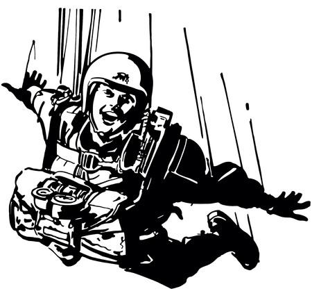 Retro Clip Art Illustration - Parachutist