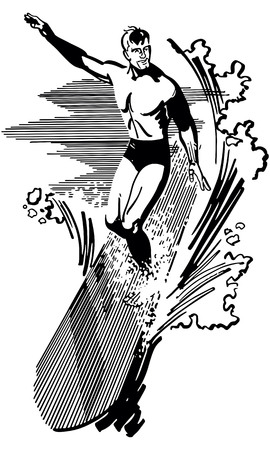 Retro Clip Art Illustration - Riding The Wave