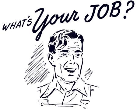 Retro Clip Art Illustration - Blue Collar Worker