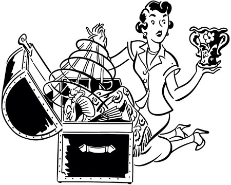 Retro Clip Art Illustration - Finding A Treasure Trove Vectores